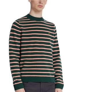 Farah Bright Emerald Bruce Lambswool Striped Funnel Neck Jumper