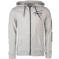 Tommy Jeans Light Grey Script Zip Through Hoodie
