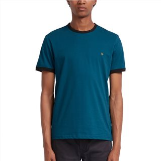Farah Teal Groves Slim Fit Ringer T-Shirt