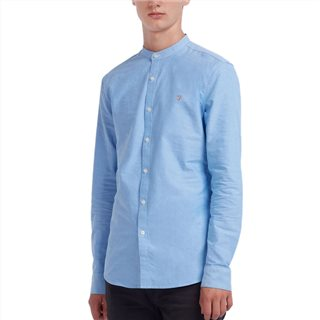 Farah Mid Blue Brewer Slim Fit Grandad Oxford Shirt