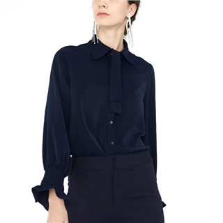 Cubic Navy-Blue Shirt With Elasticated Cuffs And Ruffles