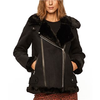 Vero Moda Black Furry Wool Coat