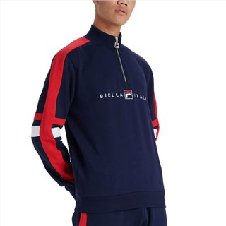 Fila Navy Romolo Graphic Funnel Neck Sweatshirt