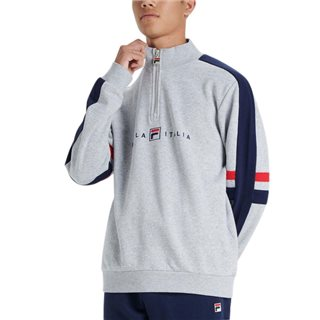 Fila Light Grey Romolo Graphic Funnel Neck Sweatshirt