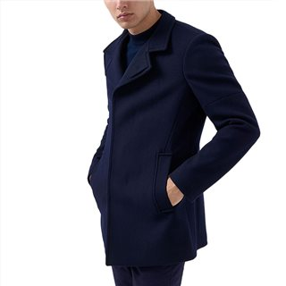 Remus Uomo Clothing Navy Tapered Fit Wool-Rich Overcoat