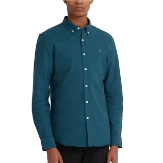 Farah Teal Brewer Slim Fit Oxford Shirt