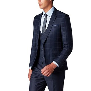 Remus Uomo Navy Slim Fit Contrast 3 Piece Suit
