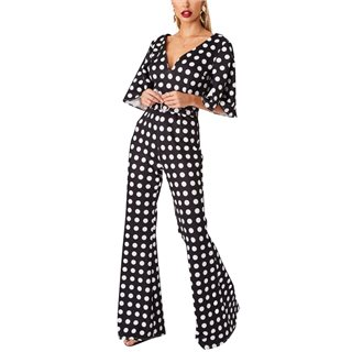 Little Mistress Mistress X Amy Neville Monochrome Spot Self-Belt Jumpsuit