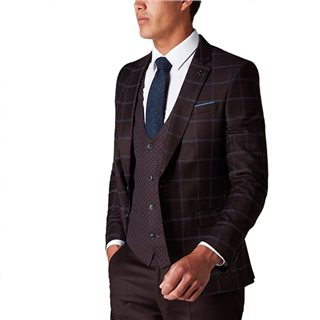 Remus Uomo Burgundy Slim Fit Contrast 3 Piece Suit