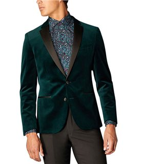 Remus Uomo Dark Teal Slim Fit Velvet Jacket