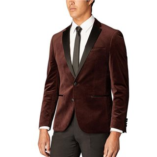 Remus Uomo Burgundy Slim Fit Velvet Jacket