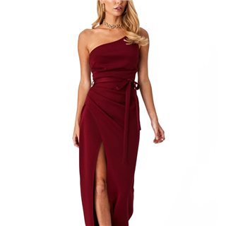 Little Mistress X Amy Neville Burgundy One-Shoulder Maxi Dress