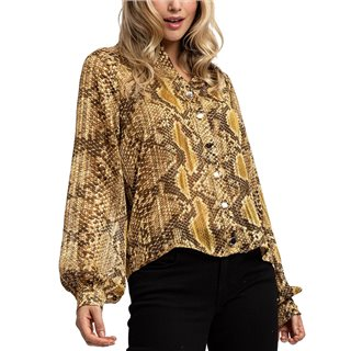 Liquorish Gold Snake Skin Balloon Sleeves Shirt
