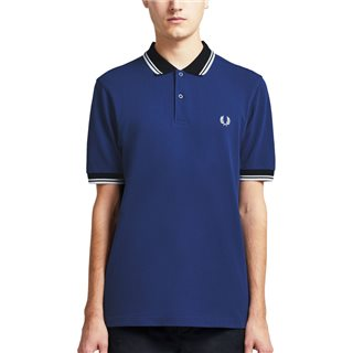 Fred Perry Medieval Blue Colour Block Polo Shirt
