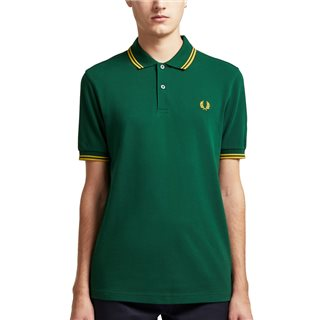 Fred Perry Ivy / Gold M3600 Twin Tipped Polo Shirt