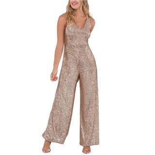 Closet London Rose Gold Sequin Wide Leg Jumpsuit