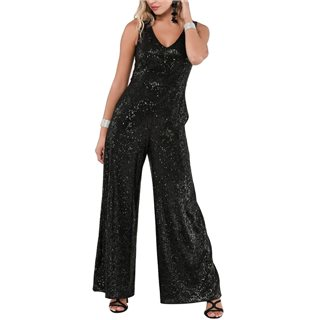 Closet London Black Sequin Wide Leg Jumpsuit