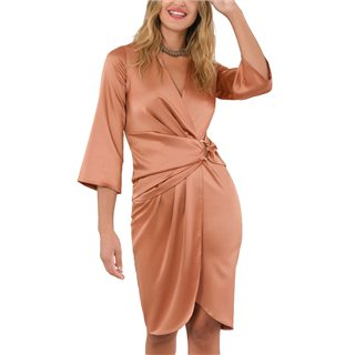 Closet London Rose Gold Gathered D-Ring Wrap Dress