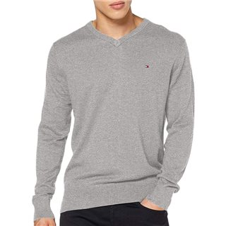 Tommy Hilfiger Silver Fog Cotton Cashmere V-Neck Jumper
