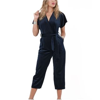 Closet London Navy Velvet Wrap Over Jumpsuit