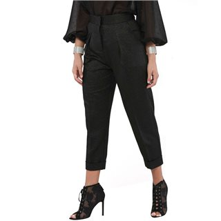 Closet London Metallic Black Pleated Trouser With Turn Up