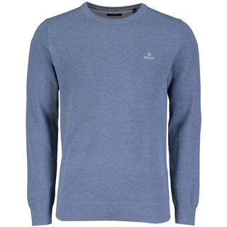 Gant Denim Blue Melange Piqué Crew Sweater