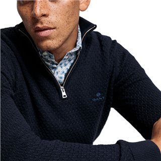 Gant Evening Blue Honeycomb Half-Zip Sweater