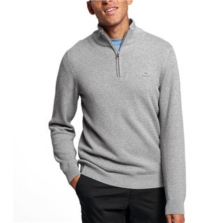 Gant Grey Melange Honeycomb Half-Zip Sweater