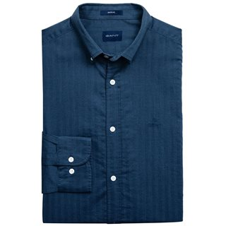 Gant Atlantic Blue Regular Fit Fishbone Patterned Shirt
