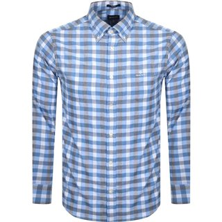 Gant Pacific Blue Regular Fit Tech Prep Heather Gingham Oxford Shirt
