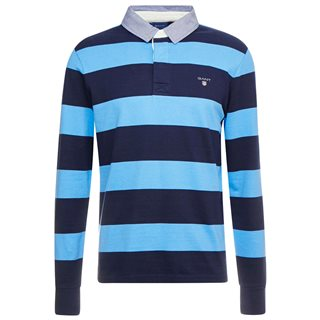 Gant Pacific Blue Original Barstripe Heavy Rugby Polo Shirt