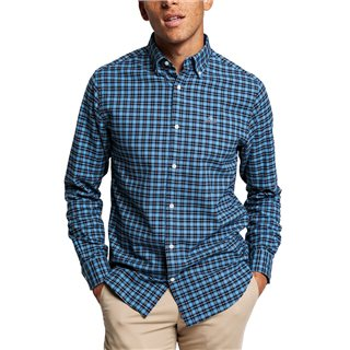 Gant Marine Regular Fit Check Brushed Oxford Shirt