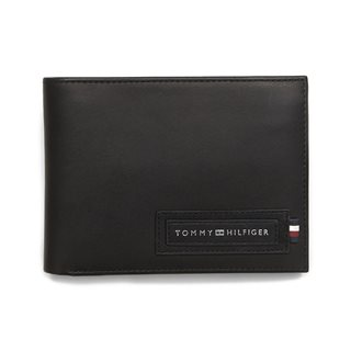 Tommy Accessories Black Embossed Logo Leather Wallet