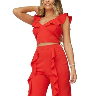 Little Mistress X Zara Mcdermott Red Frill Crop Top Co-Ord
