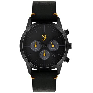 Farah Accessories Black / Yellow Detail Chronograph Dial Black Leather Strap Watch