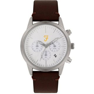 Farah Accessories White / Silver Detail Chronograph Dial Brown Leather Strap Watch