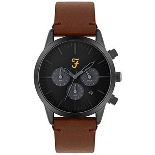 Farah Accessories Black / Grey Detail Chronograph Dial Brown Leather Strap Watch
