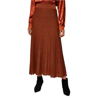 Selected Femme Ginger Bread Lurex Midi Skirt