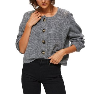 Selected Femme Medium Grey Melange Buttoned Knitted Cardigan