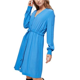 Selected Femme Blue V-Neck Belted Midi Dress