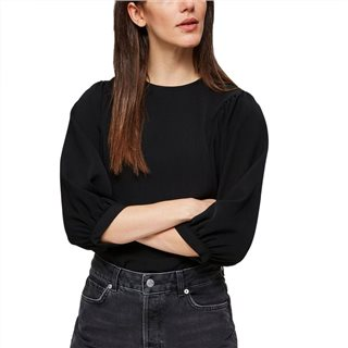 Selected Femme Black Zip Fastening 3/4 Sleeved Top