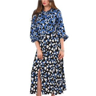 Closet London Blue Heart Print Puff Sleeve Midi Dress