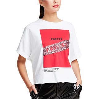 Guess White Punk Print T-Shirt