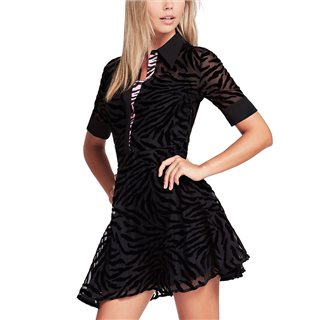 Guess Black Fit And Flare Zebra Dress