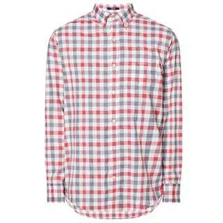 Gant Bright Red Regular Fit Tech Prep Heather Gingham Oxford Shirt