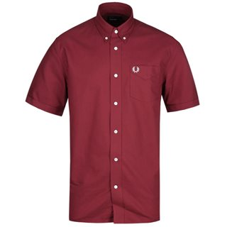 Fred Perry Wine Short Sleeve Oxford Shirt