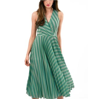 Closet London Teal Stripe Sleeveless Pleated Wrap Dress