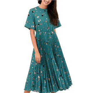 Closet London Teal Multi Print Short Sleeve Pleated Dress