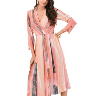 Closet London Apricot Paint Stripe Pleated Wrap Midi Dress