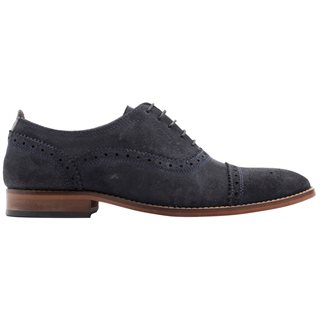 Base London Navy Cast Suede Oxford Brogues